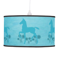 Saddlebred Foal Flowers Turquoise Hanging Pendant Lamps