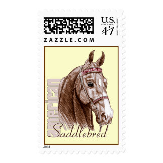 Saddlebred head, brown postage