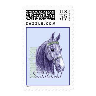 Saddlebred Head Study, Blue Postage Stamp