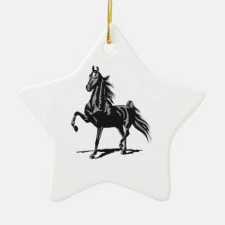 SADDLEBRED HORSE Double-Sided STAR CERAMIC CHRISTMAS ORNAMENT