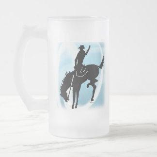 Saddlebronc 101 frosted glass beer mug