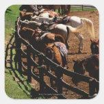 Saddled horses in corral square sticker