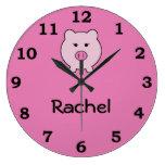 Sadie el cerdo rosado reloj redondo grande
