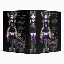 emo, gothic, sadie, fairy, faerie, fae, faery, pixie, fantasy, myka, jelina, art, skull, green, purple, cute, fly, swat, characters, Binder with custom graphic design