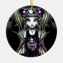 sadie, skulls, gothic, fairy, emo, faery, fae, faerie, fantasy, art, myka, jelina, big, eyed, mika, faeries, Ornament with custom graphic design