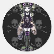 myka, jelina, art, original, gothic fairy, fantasy, stickers, dark fae, skulls, Sticker with custom graphic design