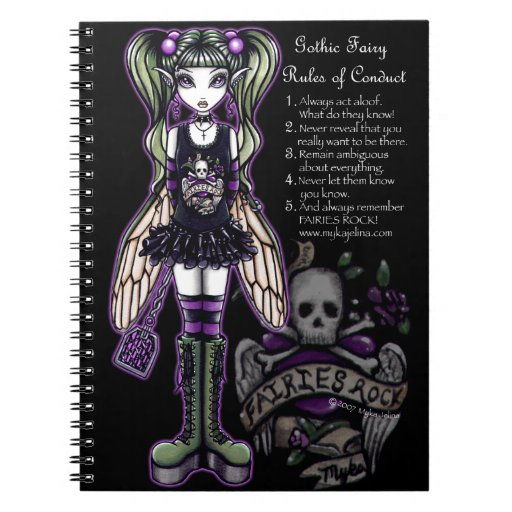 Sadie Rules Gothic Fly Fairy Skull Notebook