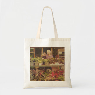 Sadie shopping for flowers tote bag
