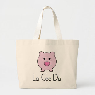 Sadie the Pink Pig Large Tote Bag