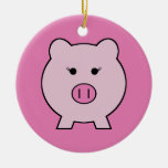 Sadie the Pink Pig Double-Sided Ceramic Round Christmas Ornament