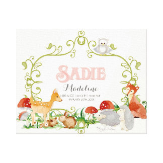Sadie Top 100 Baby Names Girls Newborn Nursery Stretched Canvas Print