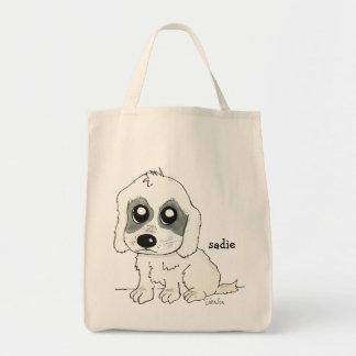 Sadie Watercolor Grocery Tote Bag