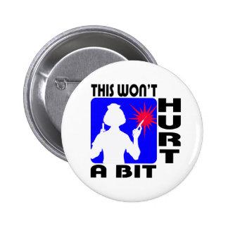 Sadistic Nurse in Blue with 2 Needles Pinback Button