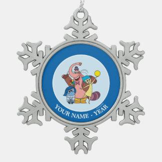 Sadness, Bing Bong and Joy Add Your Name Snowflake Pewter Christmas Ornament