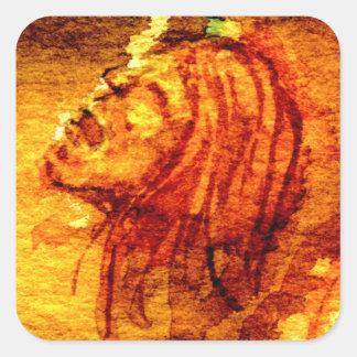Sadness Scream Watercolor Square Sticker
