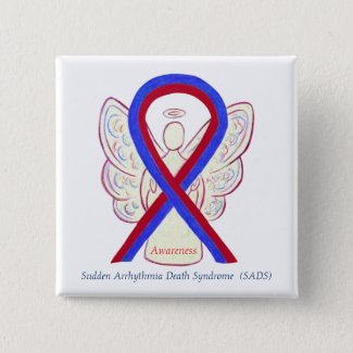 SADS Awareness Ribbon Angel Custom Button Pins