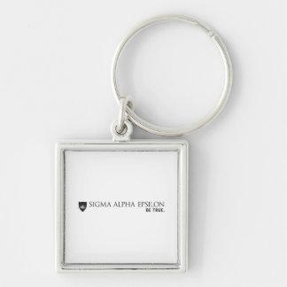 SAE Brand Black Silver-Colored Square Keychain