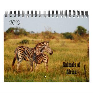 Safari 2013 de África de los animales salvajes Calendarios De Pared