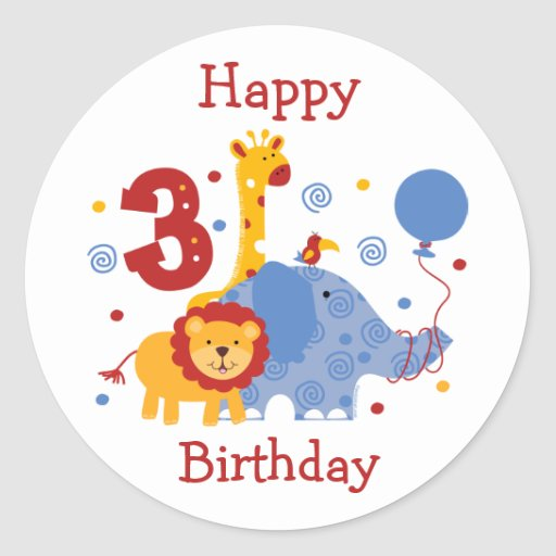 Safari 3rd Birthday Custom Sticker