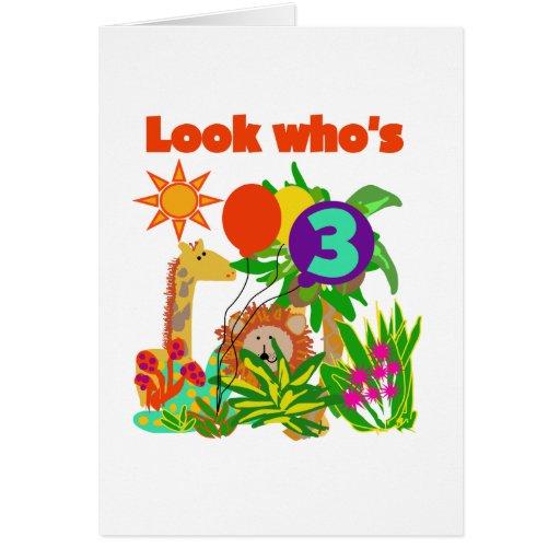 Safari 3rd Birthday  Tshirts and Gifts Greeting Card