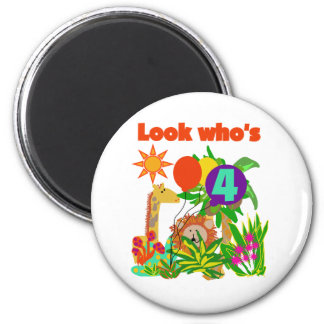 Safari 4th Birthday Tshirts and Gifts 2 Inch Round Magnet