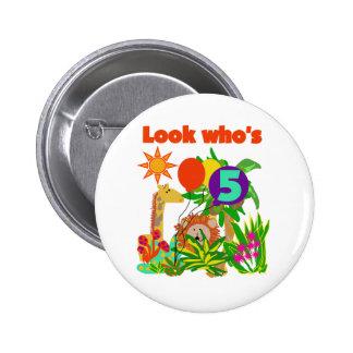 Safari 5th Birthday Tshirts and Gifts Pins