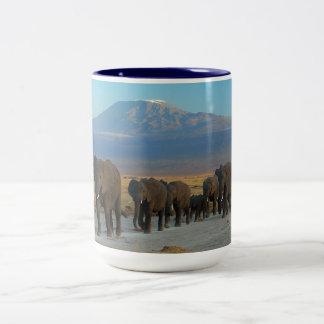 Safari Africa Cute Adorable Destiny Elephant Two-Tone Coffee Mug