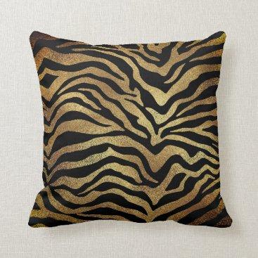 Beach Themed Safari African Gold Glam Zebra Animal Skin Black Throw Pillow