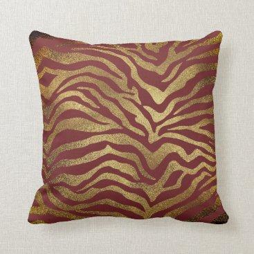 Beach Themed Safari African Gold Glam Zebra Animal Skin Burgund Throw Pillow