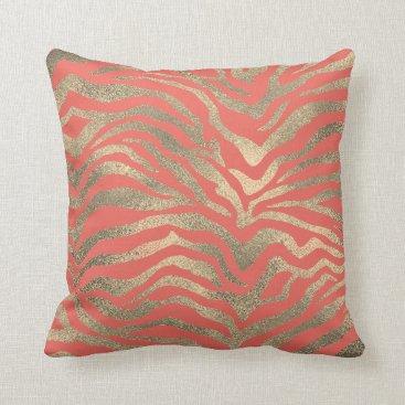 Beach Themed Safari African Gold Glam Zebra Animal Skin Coral Throw Pillow