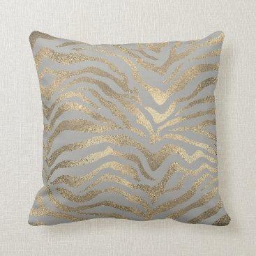 Beach Themed Safari African Gold Glam Zebra Animal Skin Gray Throw Pillow