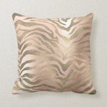 Safari African Gold Glam Zebra Animal Skin Rose Throw Pillow