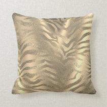 Safari African Gold Glam Zebra Animal Skin Sepia Throw Pillow