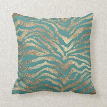 Beach Themed Safari African Gold Glam Zebra Animal Skin Teal Throw Pillow