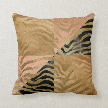 Beach Themed Safari African Marble Gold Glam Zebra Animal Skin Throw Pillow