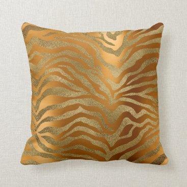 Beach Themed Safari African Steel Gold Glam Zebra Animal Skin Throw Pillow