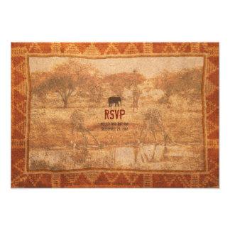 Safari africano del elefante que casa la tarjeta d invitaciones personalizada