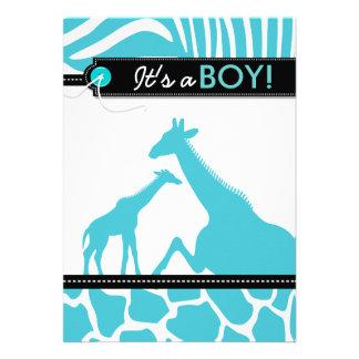Safari animal baby boy shower personalized invite