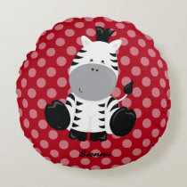 Safari Animal, choose your own background color Round Pillow