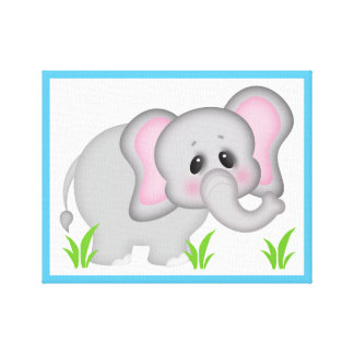 Safari Animal Elephant Baby Nursery Wall Art Print