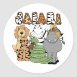 Safari animal etiquetas redondas