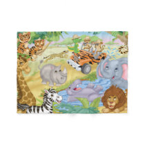 Safari Animal Flannel Blanket