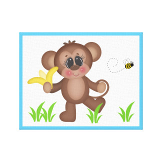 Safari Animal Monkey Baby Nursery Wall Art Print