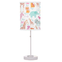 Safari Animal Nursery Print Desk Lamp