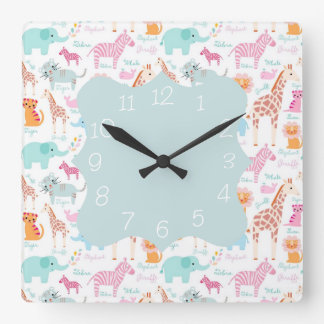 Safari Animal Nursery Print Square Wall Clock