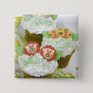 Safari animal party cupcakes. pinback button