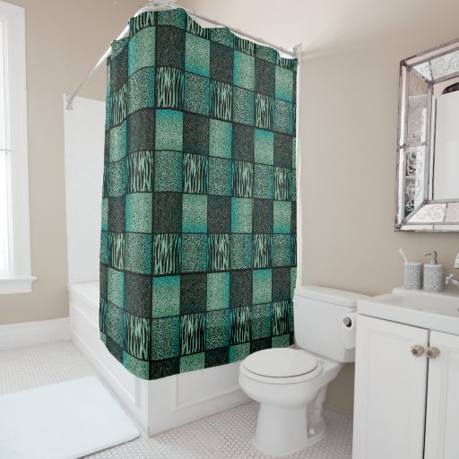 Safari Animal Patterns In Teal And Black Shower Curtain Zazzle