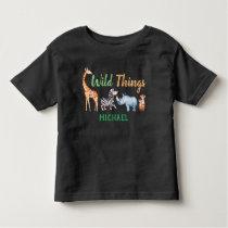 Safari Animal Wild Things Birthday Personalized Toddler T-shirt
