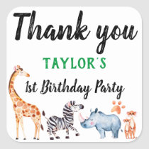 Safari Animal Wild Things Birthday Thank You Square Sticker
