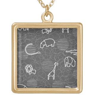 safari animals 5 personalized necklace
